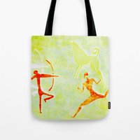 hunting Tote Bags featuring Hunting by LoRo  Art & Pictures