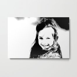 Smiling girl print, black and white little angel photography Metal Print