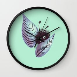 Cute Funny Hairy Monster In Leaves Wall Clock