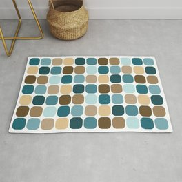 Mid Century Modern Rounded Square Tile Pattern // Brown, Caribbean Blue, Aqua Rug