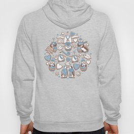Penguin Christmas gingerbread biscuits V // brown silk background Hoody
