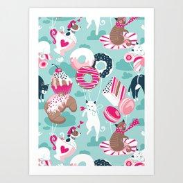 Pastel café sweet cats love dream // aqua background fuchsia pink pastry details Art Print