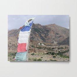 Himalayan Landscape with Tibetan prayer flag Metal Print