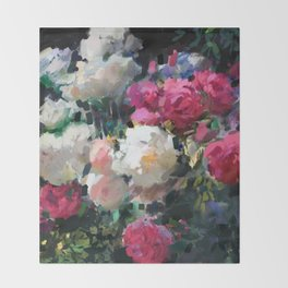 White & Pink Roses Throw Blanket