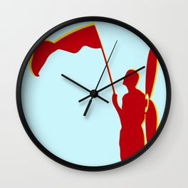 Man with a red flag and propeler  Wall Clock