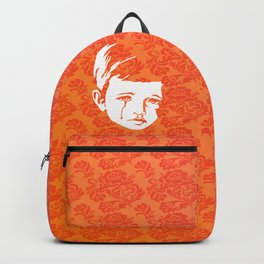 Faces - crying gypsy boy on a red and orange floral background Backpack