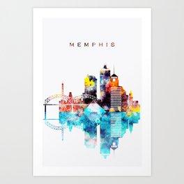 Colorful Watercolor Memphis Skyline Art Print