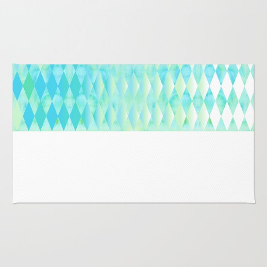 Aqua Watercolor With Ombre Harlequin Pattern Rug By K_c_s