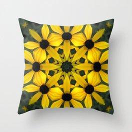 Black-eyed susan kaleidoscope, mandala Throw Pillow
