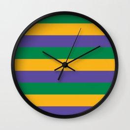 Mardi Gras Rugby Stripe Wall Clock