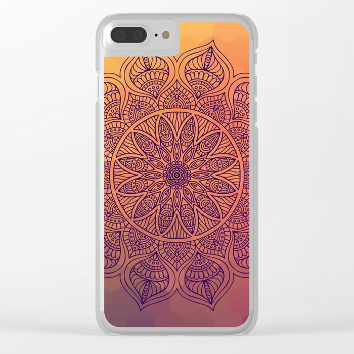Peach Mandala Clear iPhone Case
