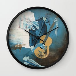 Old Guitarist (a Picasso study) Wall Clock