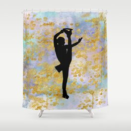 Golden Aspirations Figure Skating Watercolor Graphic Print Shower Curtain