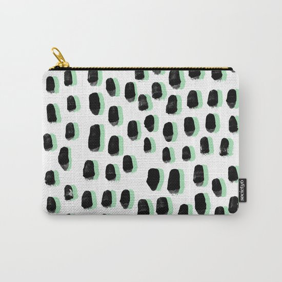 Shift pattern mint pastel black and white minimal dots painting brushstrokes modern art dorm college Carry-All Pouch