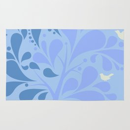 Shady Tree in Blue Pastel Color Rug