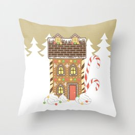 Ginger Bread House with Candy Canes Pillow Throw Pillow