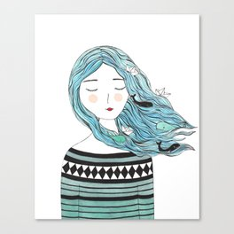 Whales in my hair Canvas Print