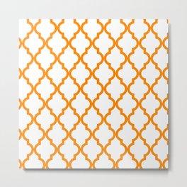 Moroccan Quatrefoil Pattern: Orange Metal Print