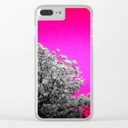 Gray Trees Hot Pink Sky Clear iPhone Case