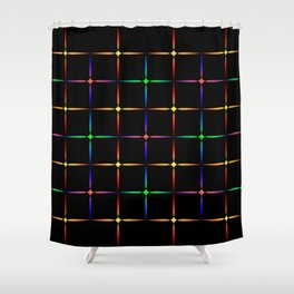 Neon diamonds. Pattern or background of multicolored neon stars on a black background Shower Curtain