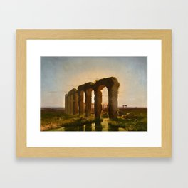 Carl Theodor Reiffenstein, Landscape in the Campania with Ruins of an Aqueduct Framed Art Print