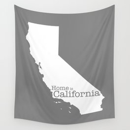 Home is California - state outline in gray Wall Tapestry