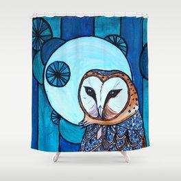 Barn Owl Art Nouveau Panel in blue Shower Curtain