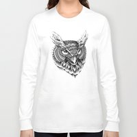 bioworkz Long Sleeve T-shirts featuring Ornate Owl Head by BIOWORKZ
