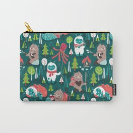Besties // green background white Yeti brown Bigfoot aqua yellow green and teal pine trees red and coral details Carry-All Pouch