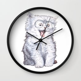 A cat with glasses Wall Clock