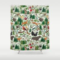woodland Shower Curtains featuring Woodland by Emma Jansson