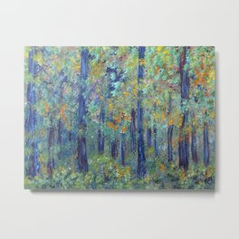 Impressionism Landscape Tree Forest, Rustic Art Home Decor Metal Print