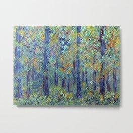 Impressionism Landscape Tree Forest, Rustic Art Home Decor Metal Print