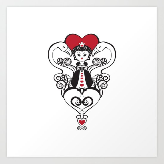 Queen of Hearts  | black, white and red Art Print