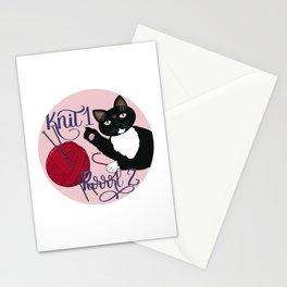 Knit 1 Purrrl 2 cat lover knitter knitting design Stationery Cards