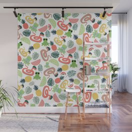 Cute funny animals summer tropical fruit pattern Wall Mural