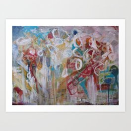 Playing in the Garden - Abstract Modern Contemporary Flowers Art Print