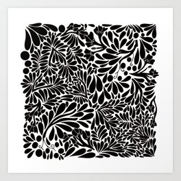 Abstract Jungle in Black and White Art Print