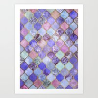 moroccan Art Prints featuring Royal Purple, Mauve & Indigo Decorative Moroccan Tile Pattern by micklyn