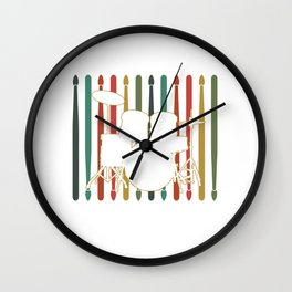 Drummers Music Lovers Drumming Musicians Drumstick Retro Vintage Rock Bands Gift Wall Clock