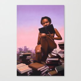 Woman reading stacks of books - Titled: Pornography For Sapiosexuals Canvas Print