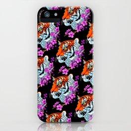 Pattern Flower tiger iPhone Case
