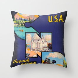 See Canada and USA Vintage Travel Poster Throw Pillow