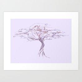 Quiet Acacia Zen Tree , Earthy African Bonsai Peace Lavendar Purple Art Print