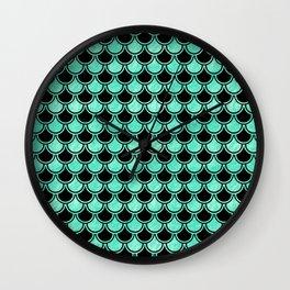 Aqua Mermaid Scales Pattern Wall Clock