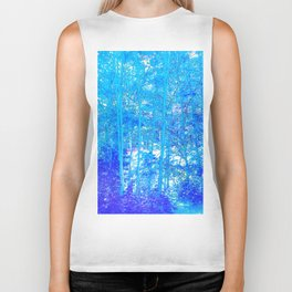 268 - Abstract Blue Forest Biker Tank