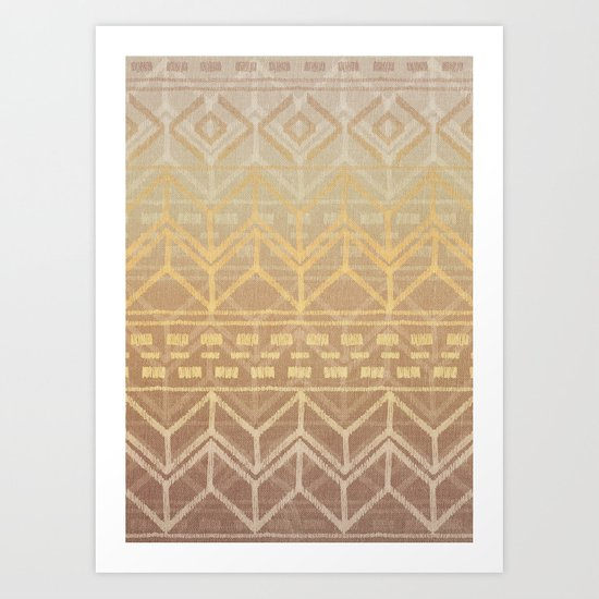 Neutral Tan & Gold Tribal Ikat Pattern Art Print