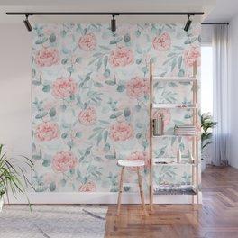 Rose Blush Watercolor Flower And Eucalyptus Wall Mural