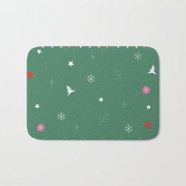 Christmas Ball Ornaments with snowflakes Bath Mat