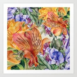 Alstroemeria & Lathyrus Art Print